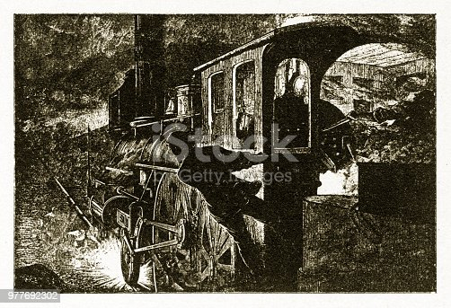 Beautifully Illustrated Antique Engraved Victorian Illustration of Early American Train Locomotive Braking on Tracks to avoid collision Engraving, 1877. Source: Original edition from my own archives. Copyright has expired on this artwork. Digitally restored.