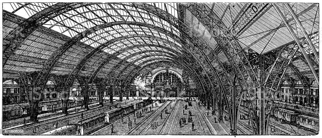 Train station in Frankfurt (Germany) vector art illustration