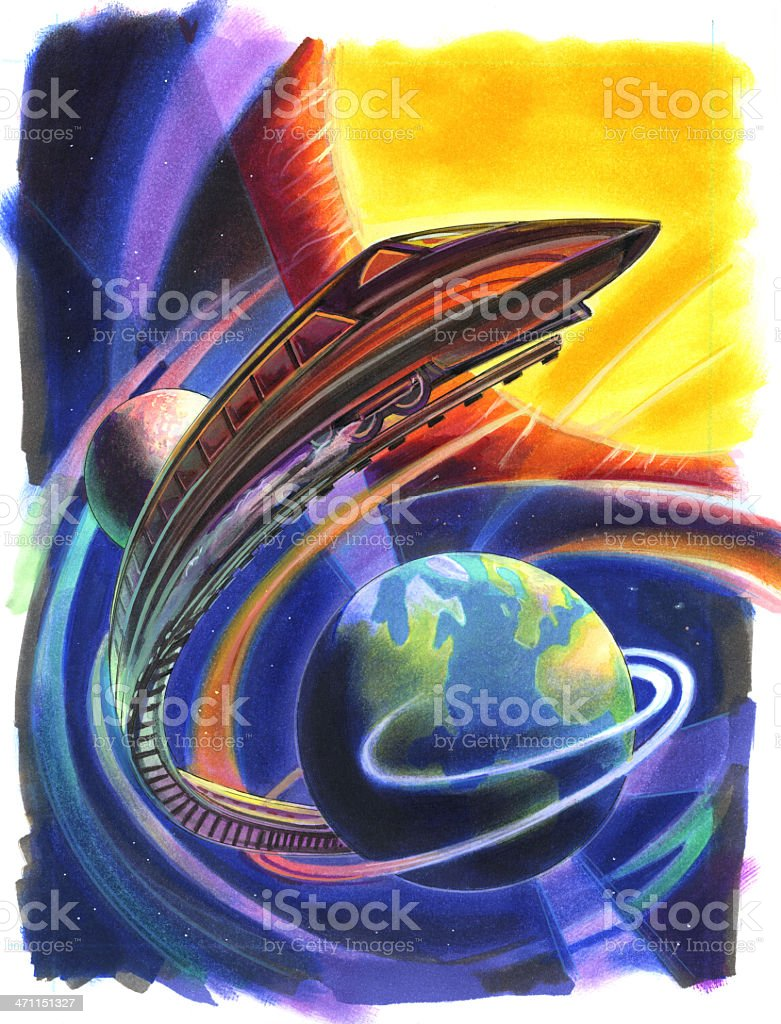 Train Transportation Of The Future and World Earth Globe royalty-free train transportation of the future and world earth globe stock vector art & more images of art product