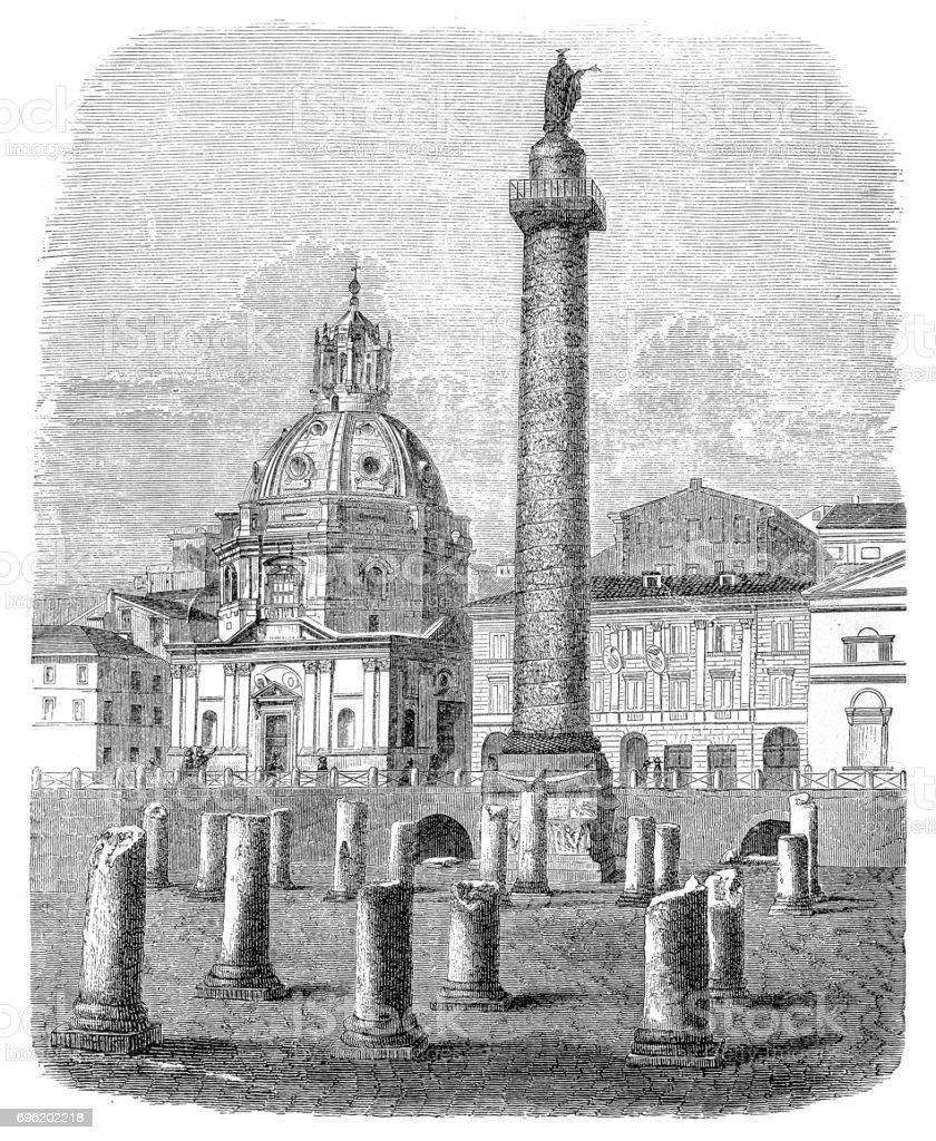 Trajan's Column in Rome, Italy vector art illustration
