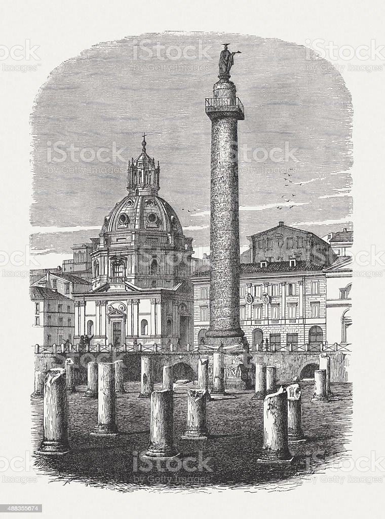 Trajan's Forum in Rome, published in 1878 vector art illustration