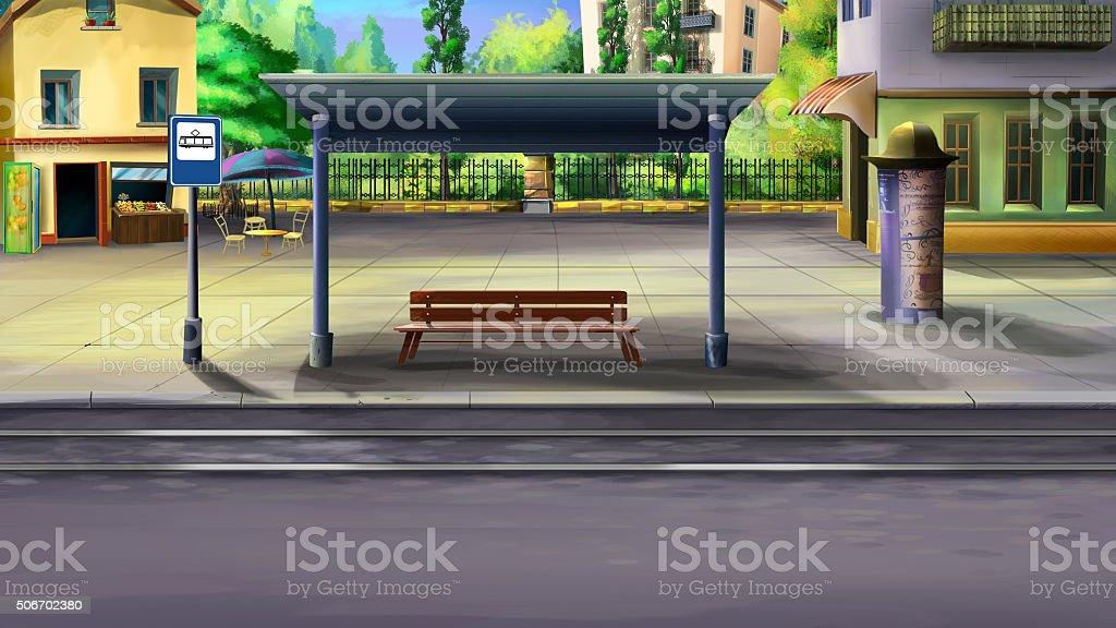 Arrêt de tramway - Illustration vectorielle