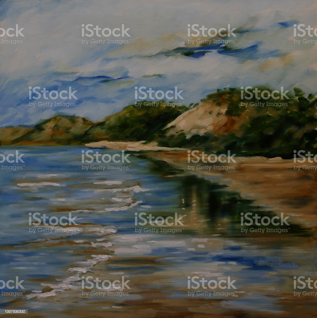 Tranquil Australian Beach Seascape Oil Painting vector art illustration