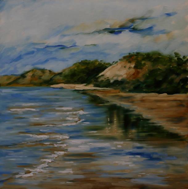Tranquil Australian Beach Seascape Oil Painting vector art illustration