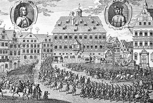 Transfer of Süss Oppenheimer to the place of execution on the market square in Stuttgart, 1738
