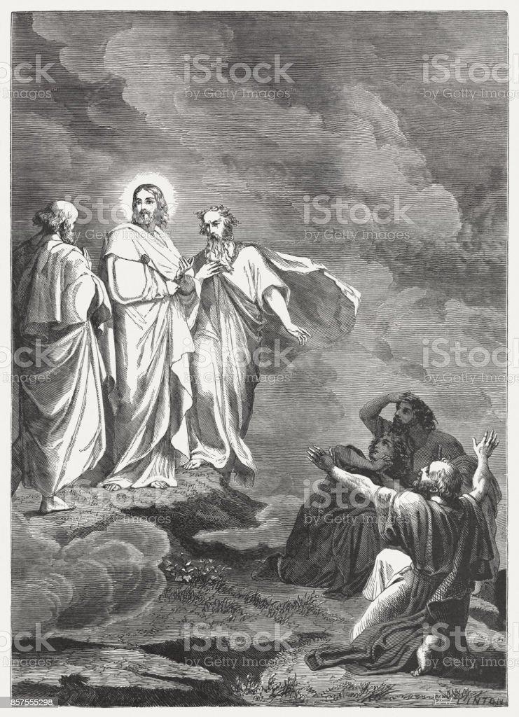 Transfiguration of Jesus (Mark 9, 2-8), wood engraving, published 1886 vector art illustration