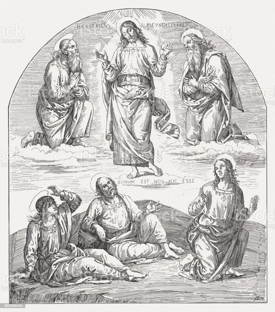 Transfiguration, painted (1496-1500) by Perugio, Collegio del Cambio, Perugia, Italy vector art illustration