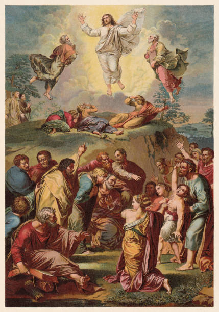 Transfiguration, painted (1516/20) by Raphael (1883-1520), chromolithograph, published in 1890 Transfiguration of Christ. Chromolithograph after a painting (1516/20) by Raphael (Italian painter, 1483 - 1520) in the Pinacoteca Vaticana, published in 1890. renaissance stock illustrations