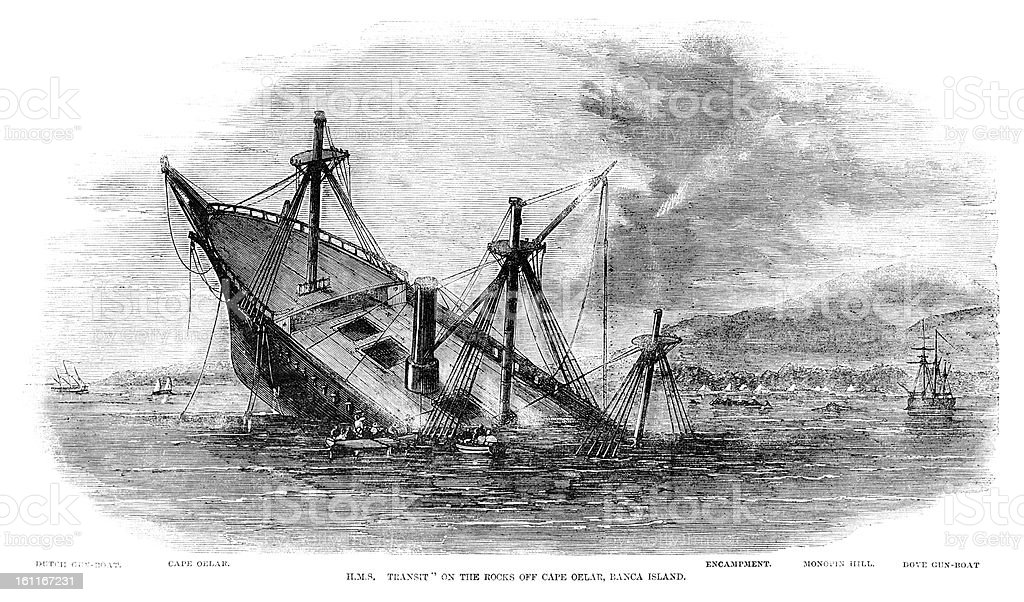 'HMS Transit' wrecked off Banca Island, Sumatra (1857 engraving ILN) vector art illustration