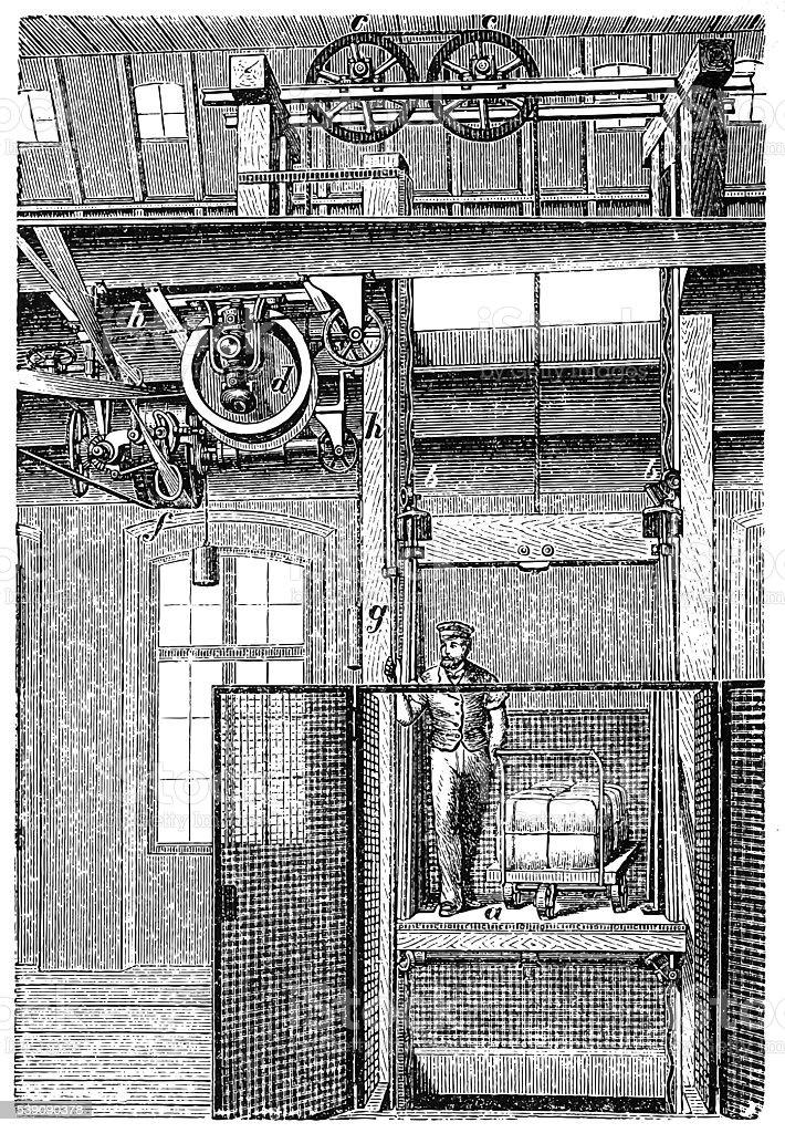 Transmission elevator vector art illustration
