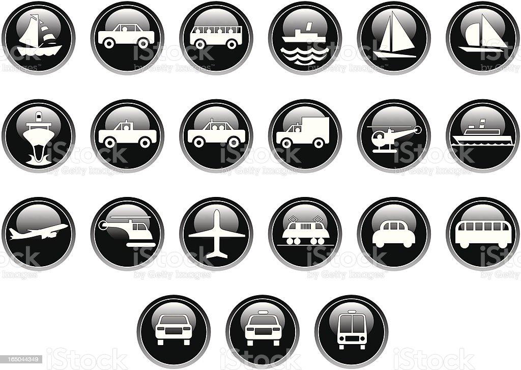 Transport icons (shiny) royalty-free stock vector art