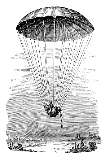 Transportation By Parachute Stock Illustration - Download Image Now