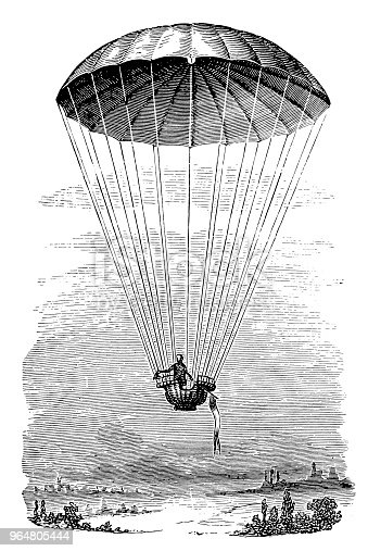 Transportation By Parachute Stock Vector Art & More Images of 19th Century Style 964805444