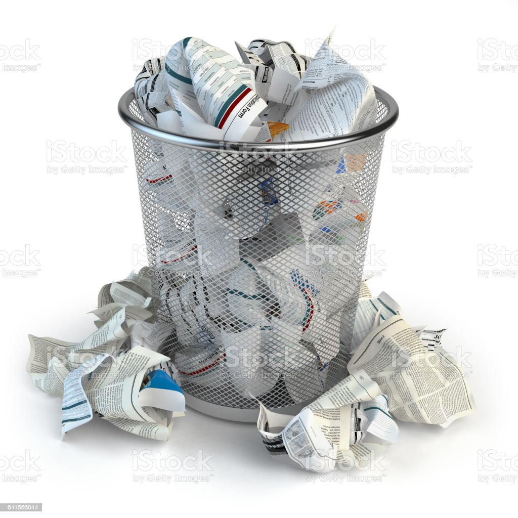 Trash bin full of waste paper isolated on white background for Art from waste paper