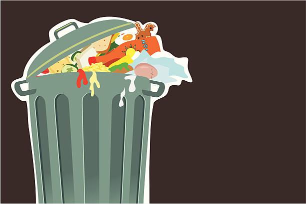 bildbanksillustrationer, clip art samt tecknat material och ikoner med trashcan - food waste