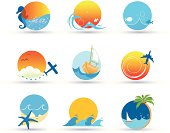 vector file of travel and sea icons