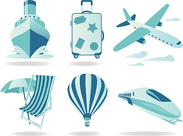 Travel and Transportation icons Travel and Transportation icons high speed train stock illustrations
