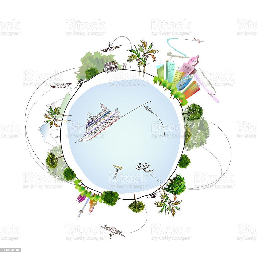 Travel around of planet illustration vector art illustration