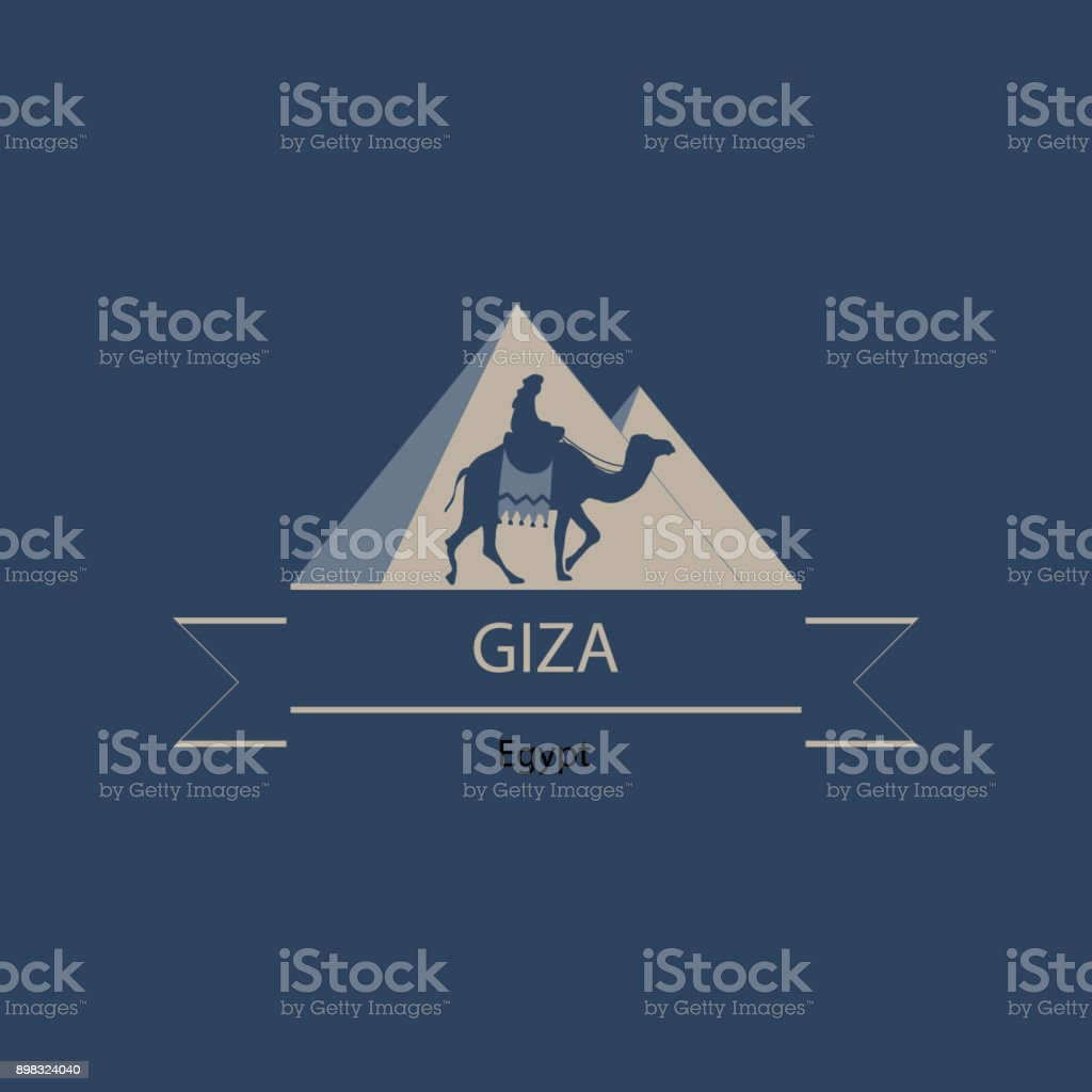 Travel banner or icon,  of Egypt and Giza landmarks with pyramids and camel rider silhouette vector art illustration