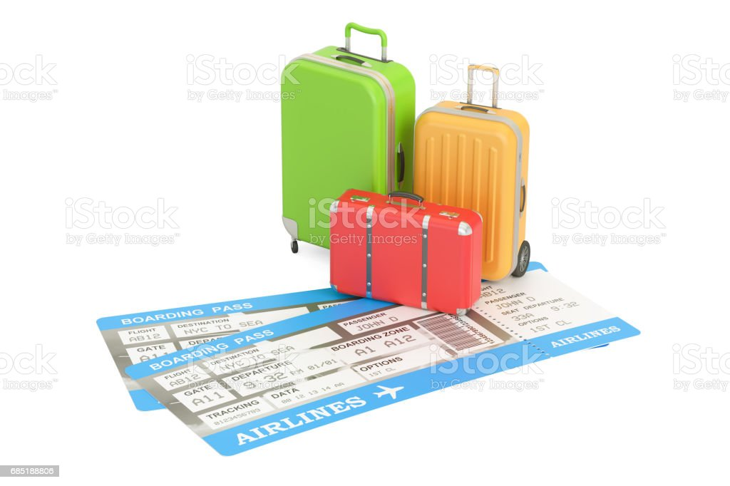 Travel concept, suitcases with tickets. 3D rendering isolated on white background royalty-free travel concept suitcases with tickets 3d rendering isolated on white background stock vector art & more images of bag