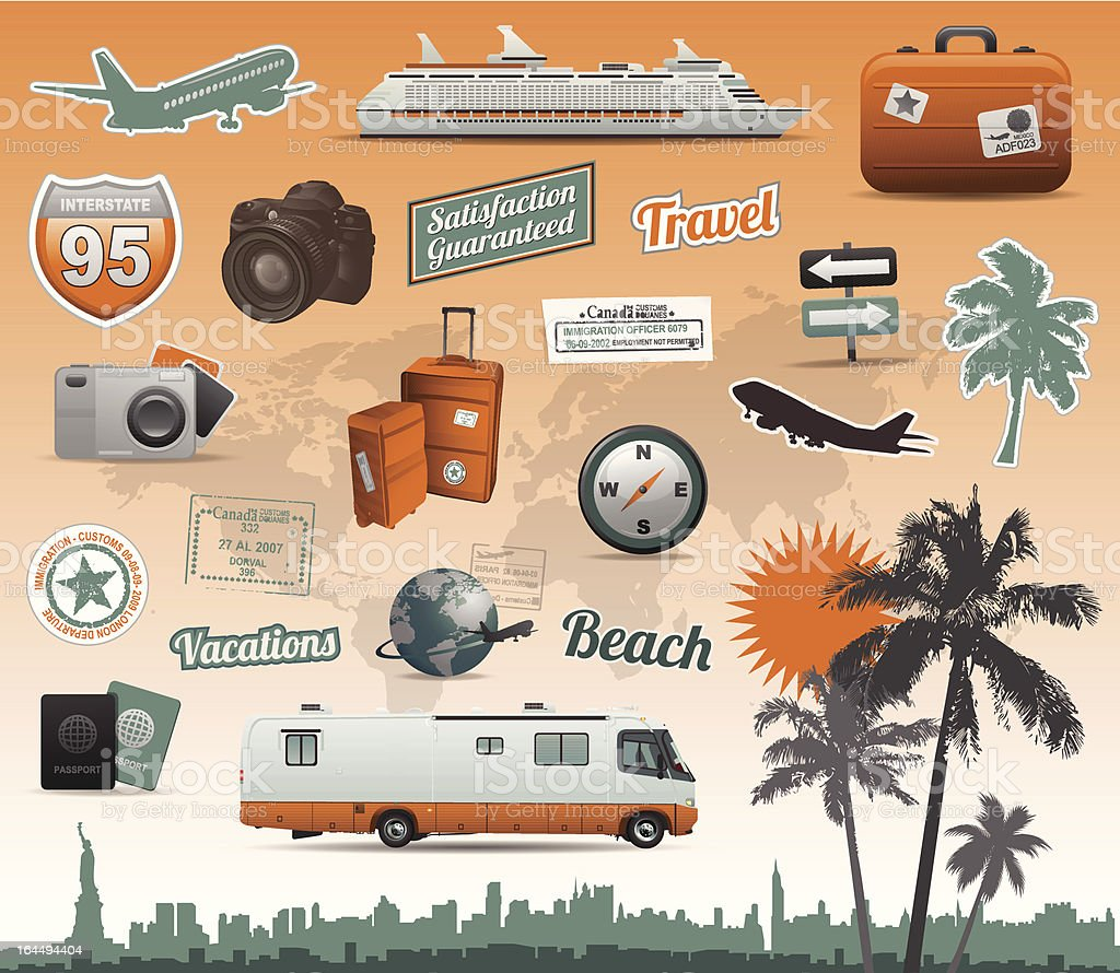 Travel elements royalty-free stock vector art
