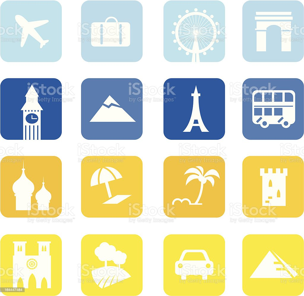Travel icons and landmarks big collection - blue & yellow royalty-free travel icons and landmarks big collection blue yellow stock vector art & more images of airplane