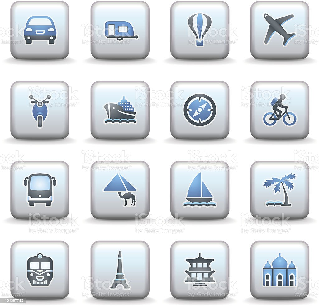 Travel icons for web. Gray and blue series. royalty-free stock vector art