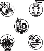 These 5 icons represent 5 ideal travel destinations