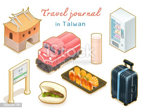 istock Travel Journal in Taiwan collection, Gua bao, vending machine, salmon sushi, Alishan railway, luggage, The north gate isometric illustration. 1303091761