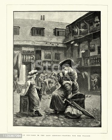 Vintage engraving of Mother and children waiting in Inn yard for the waggon. Where the Du. The Graphic, 1884