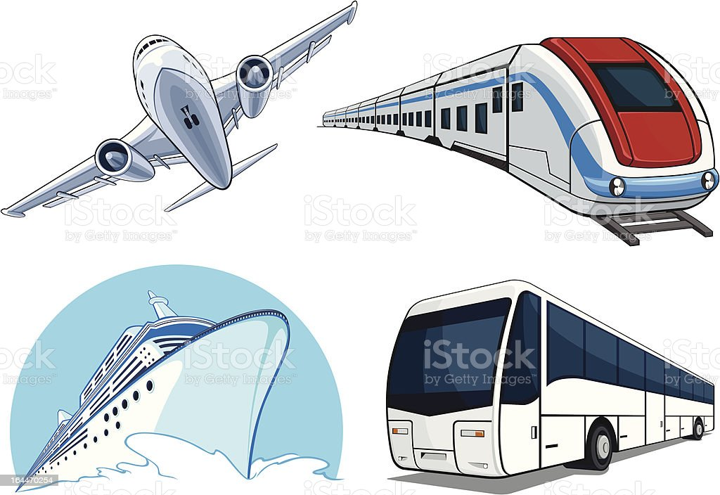 Travel Transportation Set - Airplane, Bus, Cruise Ship, and Train royalty-free stock vector art