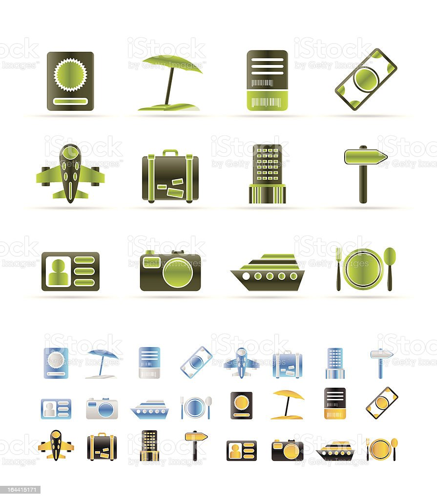 travel, trip and holiday icons royalty-free stock vector art