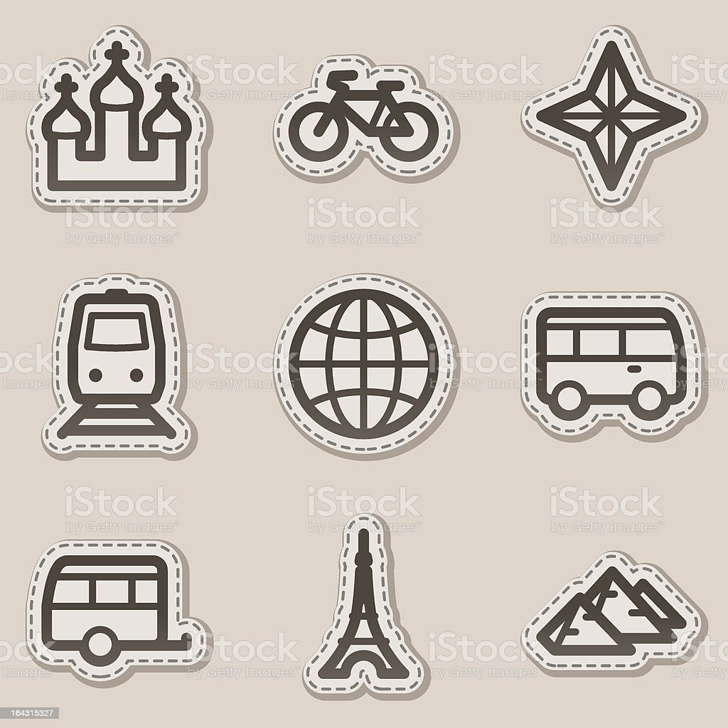 Travel web icons set 2, brown  sticker series royalty-free stock vector art