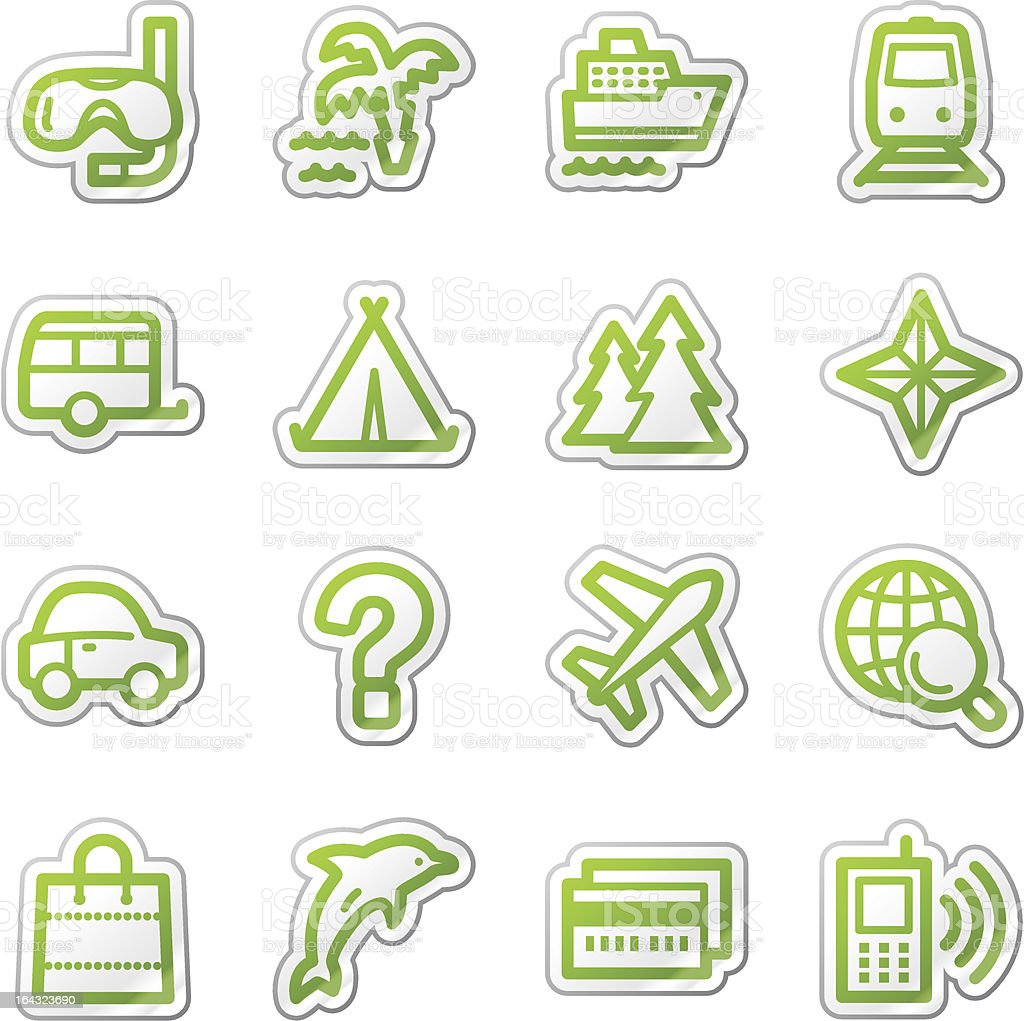 Travel web icons set 2, green  sticker series royalty-free stock vector art