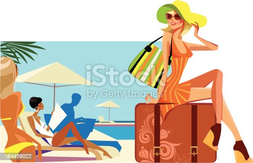 vector illustration of woman in hat sitting on suitcase on resort