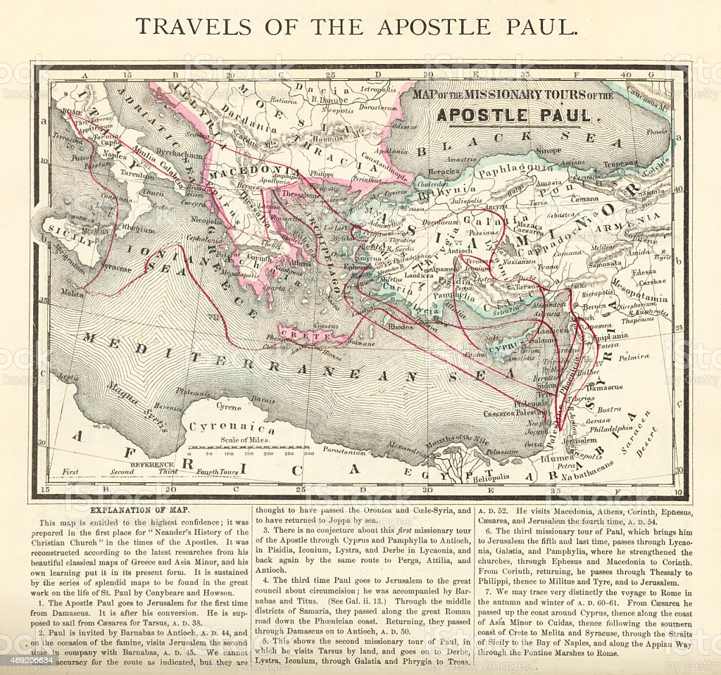 Travels of The Apostle Paul Map Engraving vector art illustration