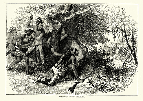 Vintage engraving of Treachery of the Cherokees, Warriors laying ambush for settlers, 18th Century