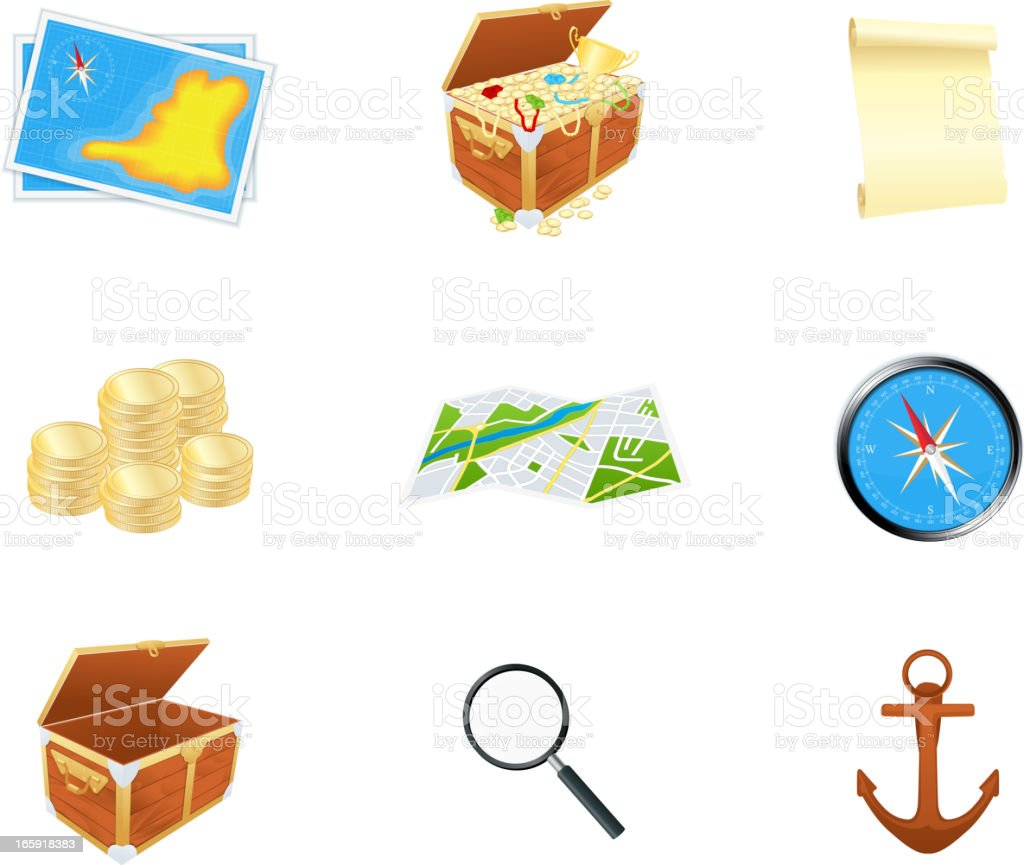 Treasure icons vector art illustration