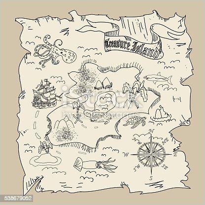 Treasure Island Map Kids Coloring Page Stock Vector Art