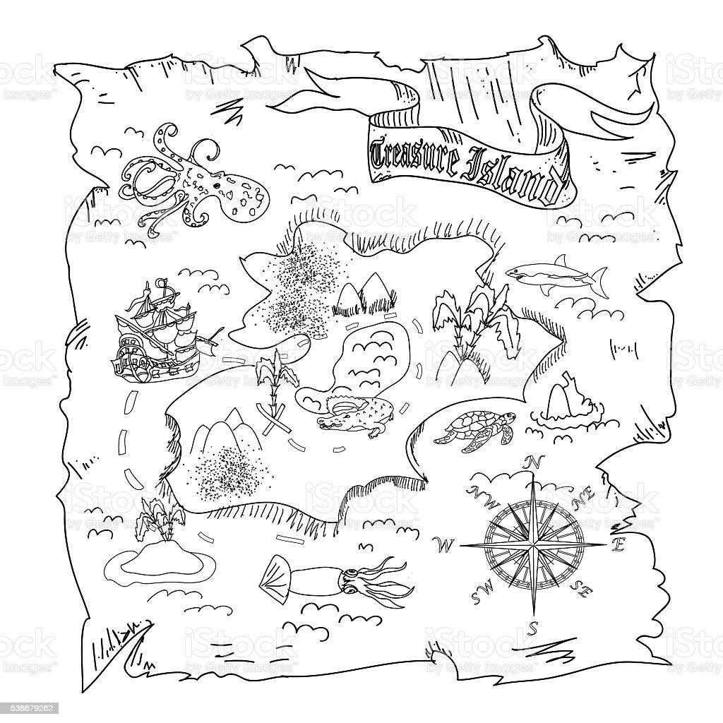 La Isla Del Tesoro Mapa Niños Para Colorear Página - Arte vectorial ...