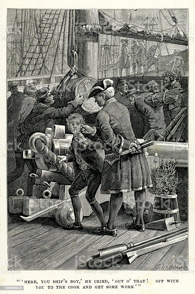 Treasure Island - The Ship's Boy vector art illustration