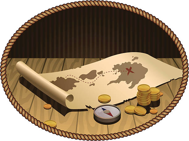 treasure map - treasure map backgrounds stock illustrations