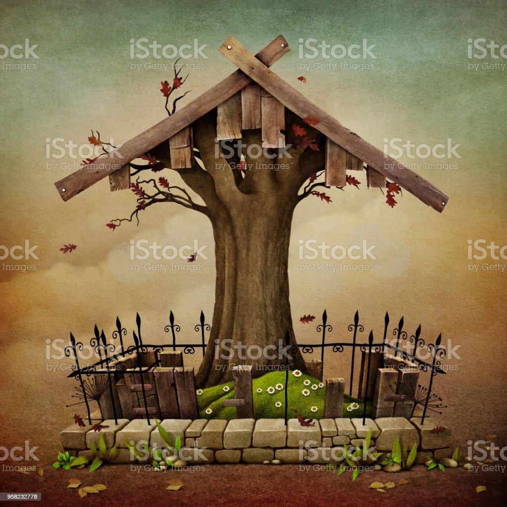 Tree and Gravestone vector art illustration