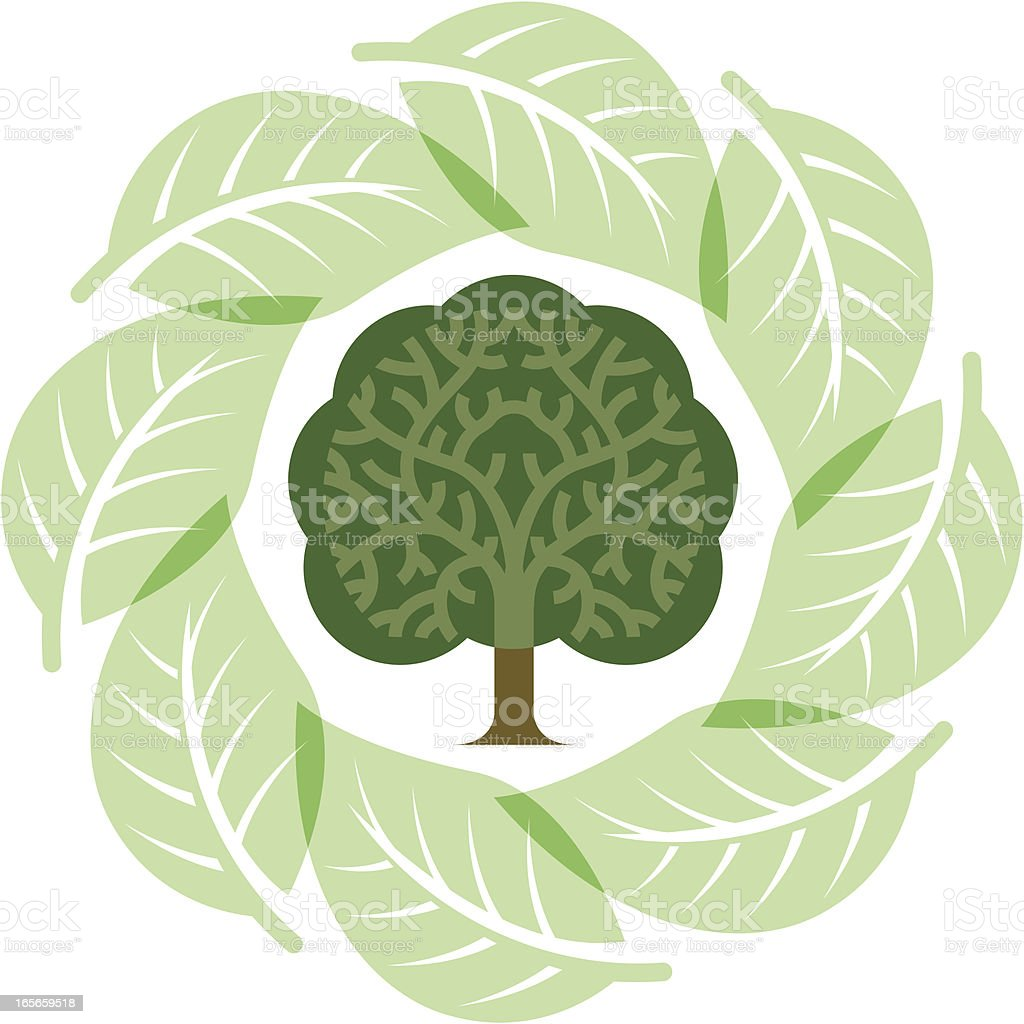 Tree and leaf circle vector art illustration
