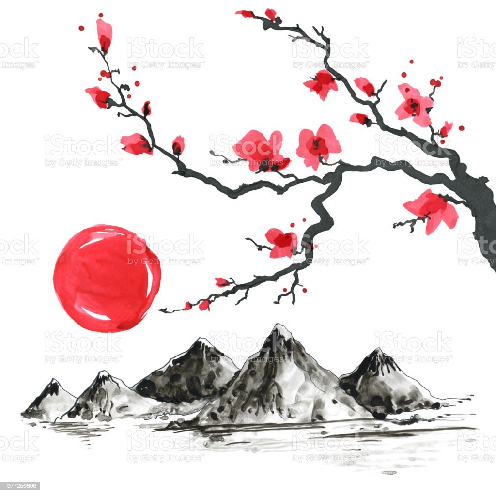 Tree Branch In Japanese Style Watercolor Hand Painting Illustration Stock Illustration Download Image Now Istock