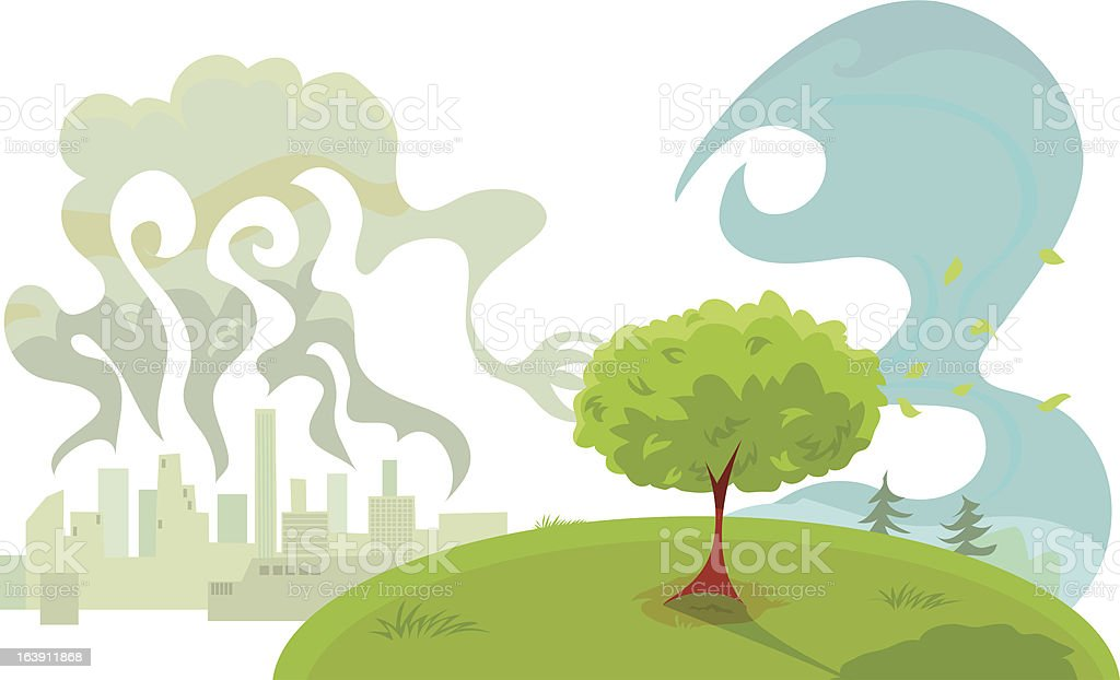 Tree Cleaning Pollution from the Air royalty-free stock vector art