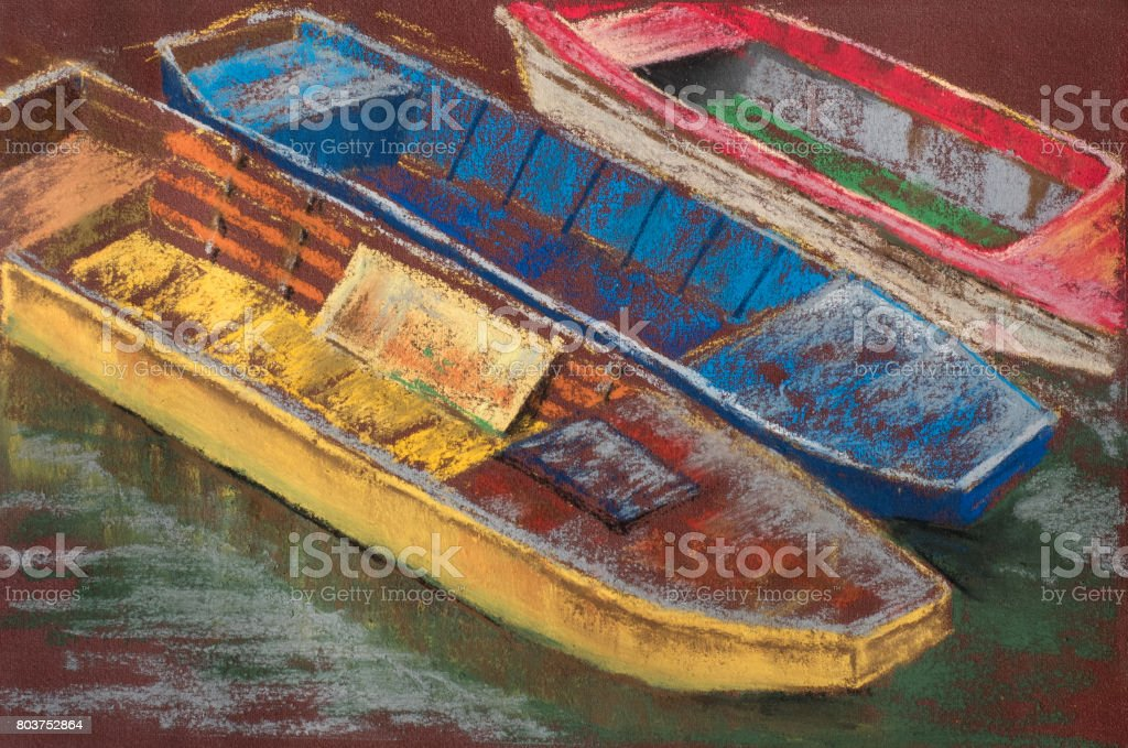 Tree colored wooden boats on river. Summer landscape. Pastel Painting vector art illustration