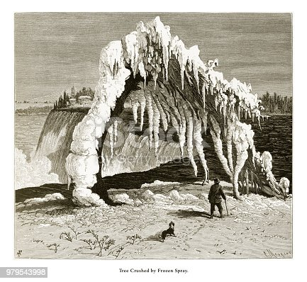 Very Rare, Beautifully Illustrated Antique Engraving of Tree Crushed by Frozen Spray, Niagara Falls, New York, Niagara Falls, Ontario, American Victorian Engraving, 1872. Source: Original edition from my own archives. Copyright has expired on this artwork. Digitally restored.