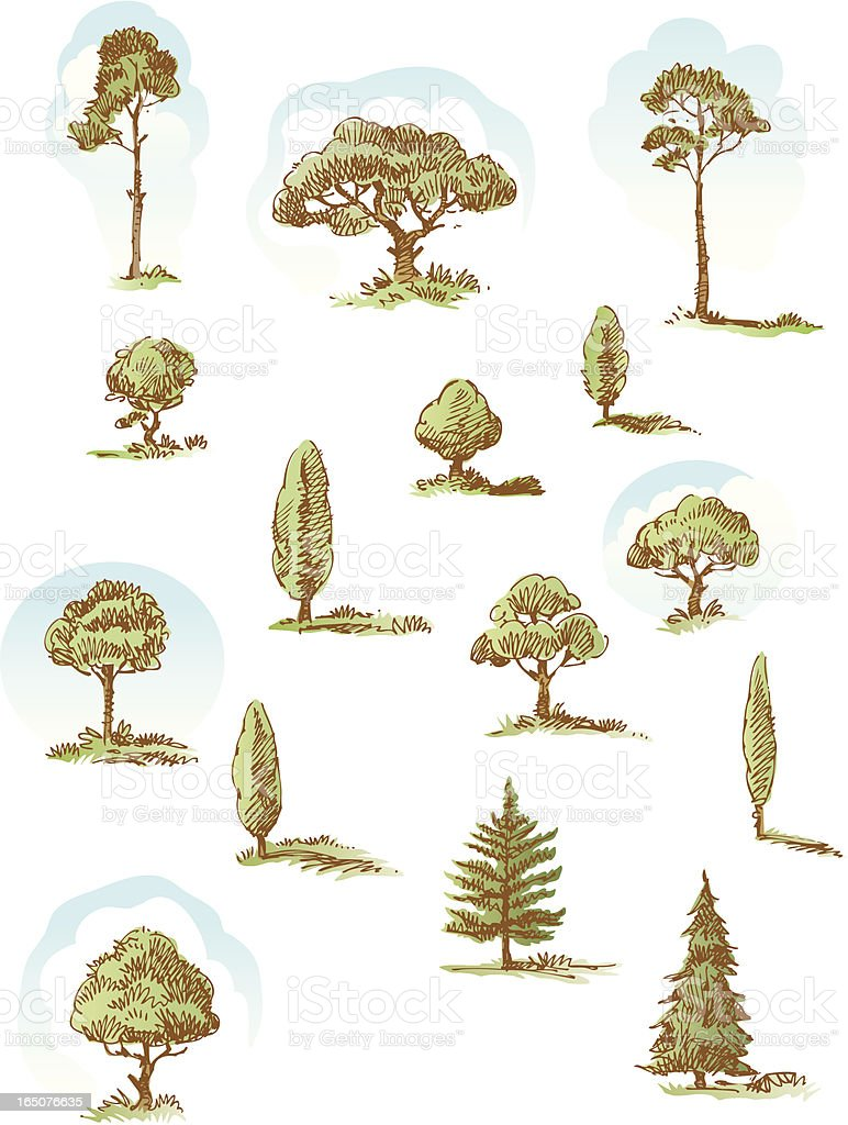 Tree doodles royalty-free stock vector art