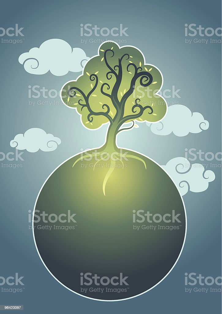 Tree growing in a small planet royalty-free stock vector art